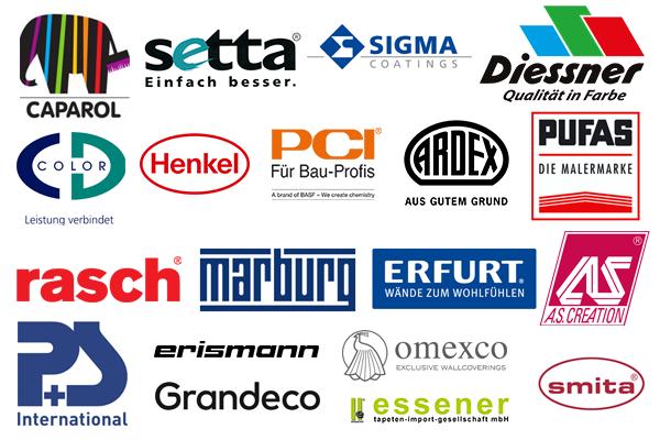 Caparol Setta Sigma Diessner CD-Color Henkel PCI Ardex PUFAS rasch Marburg Erfurt AS.Creation P+S Erismann Grandeco Omexco Essener Smitha